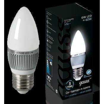 Лампа светодиодная Gauss LED Candle E27 6.5W 4100К 1/10/50