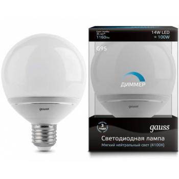 Лампа светодиодная Gauss LED G95-dim 14W E27 4100K диммируемая 1/10/40