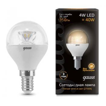 Лампа светодиодная Gauss LED Globe Crystal Clear E14 4W 2700K 1/10/50