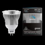 Лампа светодиодная Gauss LED MR16 8W GU5.3 AC220-240V 4100K диммируемая (нейтральный свет)