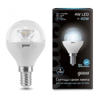 Лампа светодиодная Gauss LED Globe Crystal Clear E14 4W 4100K 1/10/50