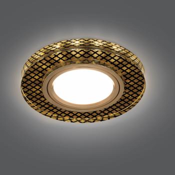 Светильник Gauss Backlight BL076 Круг Кристалл/Черный/Золото, Gu5.3, LED 2700K 1/40