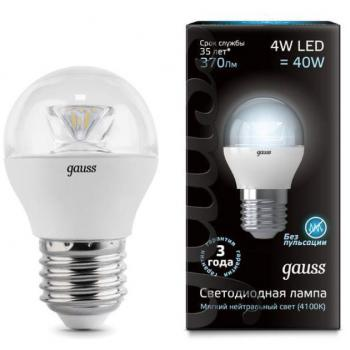 Лампа светодиодная Gauss LED Globe Crystal Clear E27 4W 4100K 1/10/50