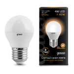 Лампа светодиодная Gauss LED шар металл 4W E27 2700K (теплый свет)