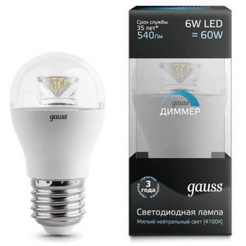 Лампа светодиодная Gauss LED Globe-dim Crystal Clear E27 6W 4100K диммируемая 1/10/50