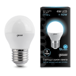 Лампа светодиодная Gauss LED шар металл 4W E27 4100K (нейтральный свет)